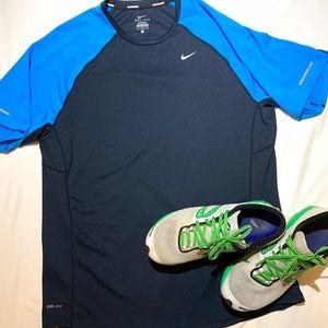 NIKE DRI-FIT Men's Running Shirt Blue Size Large